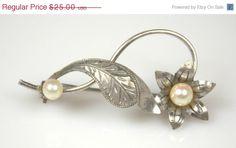 Vintage Sterling Silver Genuine Pearl Flower Leaf by TheFashionDen