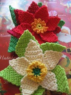 Flowers in single crochet stitch.