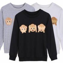 Fashion Women Causal Sweatshirt Long Sleeve Animal Emoji Printed Outerwear Top Pullover Hoodie