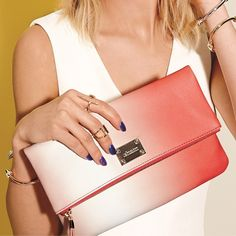 The perfect summer accessories - mark. Looking Sharp Bracelets and Hint of Bling Ring Set paired with mark.'s Fade to Fab Clutch #InstantVacation