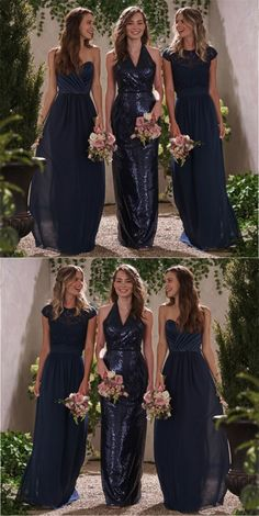 b3190ae1d4386 Navy blue Long Bridesmaid dresses, sparkly chiffon sequin Bridesmaid dress, dress for wedding, PD17662 from fitdesigndress