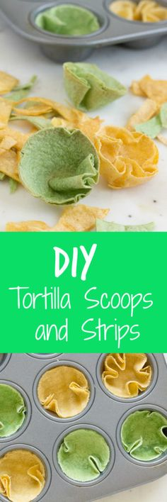 These DIY Tortilla Scoops and Strips are a fun way to use up leftover tortillas to enjoy your favorite dips, or top salads or chili! Mexican Dishes, Mexican Food Recipes, Real Food Recipes, Great Recipes, Snack Recipes, Favorite Recipes, Drink Recipes, Holiday Recipes, Savory Snacks