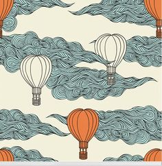 """""""Hope Floats"""" retro hot air balloon wallpaper designed by aLoveSupreme available through Robin Sprong I think this is fun, but am worried in the small room with the coats such a big pattern would be hard to see -- particulary when standing so close to it. Illustration Simple, Illustration Design Graphique, Painting Inspiration, Art Inspo, Art Sketches, Art Drawings, Posca Art, Arte Sketchbook, Graphic"""