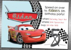 Awesome Cars 2 Birthday Invitation 1500 Via Etsy Invitations Party