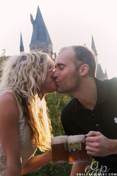 Stephanie and Adam's Hogsmeade Engagement Session at The Wizarding World of Harry Potter. Photography by E. Gilbert Photography in central Florida