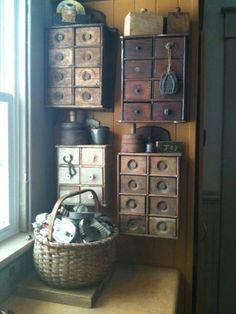 like the spice box collection hung together Prim Decor, Country Decor, Rustic Decor, Vintage Decor, Primitive Decor, Rustic Style, Primitive Furniture, Rustic Furniture, Wall Boxes