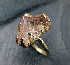 Raw Rough Morganite 14k gold Ring Pink Gemstone Ring Cocktail Ring Statement Ring Raw gemstone Jewelry byAngeline