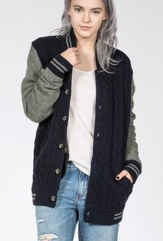 Dugout Cable Knit Cardigan #wildfang