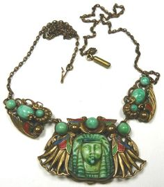 Max Neiger Egyptian Revival necklace. ... | Czech Glass : Vintage Co ...