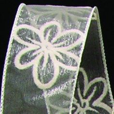 Sheer Ivory Flocked Flowers Wired Craft Ribbon 15 x 40 Yards *** Want additional info? Click on the image.
