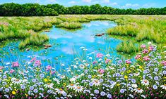 """Jordan Hicks, Daisies and Lillies, Acrylic on Canvas, 36x60"""" From Crescent Hill Gallery"""