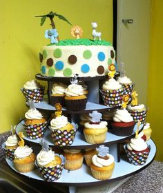 """Brooklyn Cupcake"" Safari Baby Shower Tower"