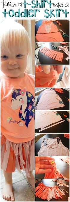 TOTALLY cute no-sew skirt for a toddler out of an old tank top. So cool. #ad #EarthDay #GreenDIY