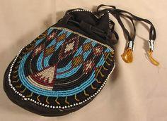 Native American Beaded Leather Purse or Handbag