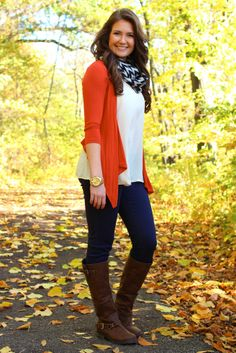 As the Leaves Fall Cardigan - Orange cardigan for fall.  That's a nice pop of color!