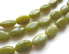 23 CENTS PER BEAD ~~  8x13mm  $3.50 FOR 15 BEADS ~~ Olive Jade Beads Flat Oval Green Bead Serpentine Gemstone