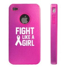 Aluminum and Silicone D5272 Case Cover Fight Like a Girl Breast Cancer Awareness for Apple iPhone 4 4S - Hot Pink (799422676282) Apple iPhone 4 4S Hot Pink D5272 Aluminum