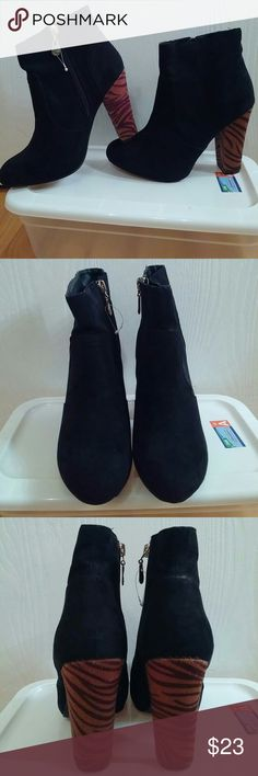 "G by GUESS Suede Black Booties, Sz. 7.5 M Super cute, worn once, faux fur tiger print heels, no box, 4"" heel. G by Guess Shoes"