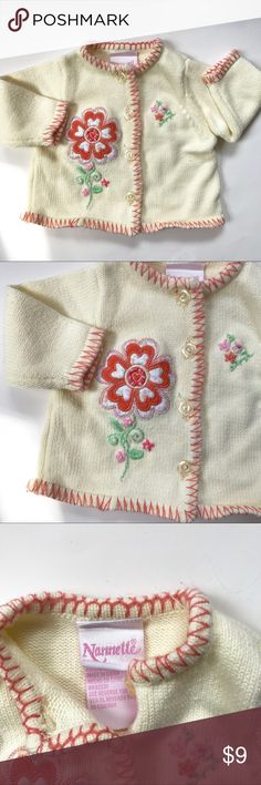 🎀Nannette Newborn Floral Cardigan Excellent condition! Size Newborn 0-3 months, great for fall/ winter weather! 🎀🍼💕💐 Nannette Shirts & Tops Sweaters