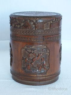 Antique Chinese Carved Bamboo Brush Pot, Lidded Pot