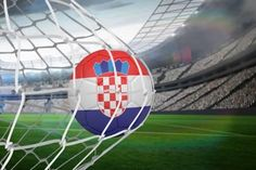 Photographic Print: Football in Croatia Colours at Back of Net against Large Football Stadium with Lights by Wavebreak Media Ltd : 24x16in