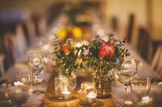 Australian native flowers, burlap runner, candles in jars