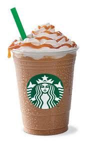 Starbucks Caramel Frappuccino Light You Can Now Make at Home! This Starbucks creation, which cuts the fat, carbs and calories of the original Frappuccino is a top-seller with coffee house regulars. My favorite is the caramel one. The skinny for 1 serving is 132 calories, 1.8 grams of fat and 4 Weight Watchers POINTS PLUS. Have fun skinny sipping!!!