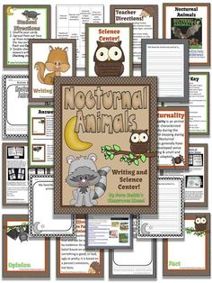 Nocturnal Animals Writing and Science Center #Free printable in Preview! 36 pages in color, as well as black and white for inexpensive printing. This resource comes with center signs, teacher directions, student directions, work mats, self-checking answer key and student cards. - Grammar is built into the lesson with the main focus being FACT and OPINION. Send home the black and white version for homework / parent support! Pin now to find later! Perfect for #Fall and #Halloween #TpT $paid