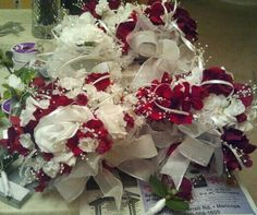 Red, white, flowers, wedding, bouquets