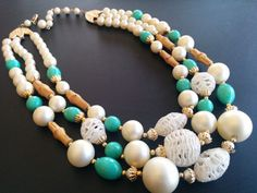 Signed Japan Vintage Necklace Wood Turquoise Lucite Bead Faux Pearl Gold Tone 19