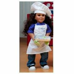 "My Twinn Chef Outfit by My Twinn. $9.50. Every little chef must look the part, so get out the chef's hat, apron and cotton oven mitt. The apron features a sweet embroidered message. Bon appetit! Fits a 23"" My Twinn doll.Available in doll size only."