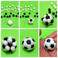 Soccer ball cake pops made with little balls of black and white fondant Fondant Toppers, Fondant Cakes, Cupcake Cakes, Car Cakes, Cake Icing, Cupcake Toppers, Cake Decorating Techniques, Cake Decorating Tutorials, Decorating Cakes