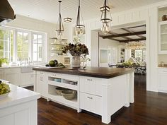 Kitchen/family Room Flow  I Like The Dark Wood Counter On Island, The  Beadboard Walls And Ceiling In Kitchen, The Sink Looking Out Window And The  ...