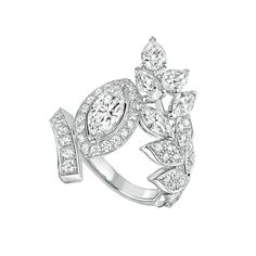 Brins de Printemps from - - collection in white gold set with 2 - 4 diamonds carat) and 57 diamonds - July 2016 Gems Jewelry, High Jewelry, Stone Jewelry, Diamond Jewelry, Women Jewelry, Diamond Rings, Unique Rings, Beautiful Rings, Chanel Jewelry