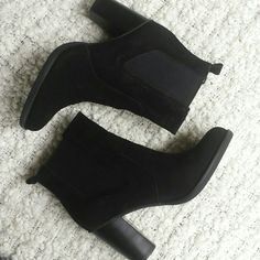 """Black suede bootie A classic bootie to add to your collection! Black coloring. New in box!! Round toe, dual side goring and back pull tab Approx. 3.5"""" heel Suede upper, manmade sole Shoes Ankle Boots & Booties"""