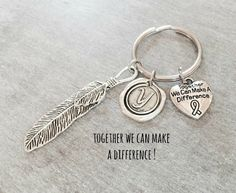 SILVER KEYRING Silver feather keychain Cancer Survivor by SAjolie