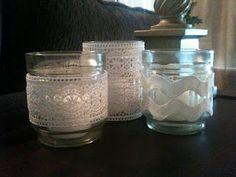 DIY lace candle votive