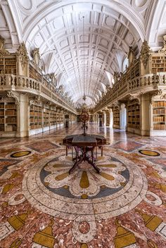 The Library at Mafra National Palace - Mafra, Lisbon, Portugal / by Nuno Trindade Photographer.  The library houses 36,000 volumes.