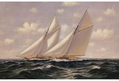 Famous America's Cup Yachts and Sailboat Models Nautical Wall Decor, Nautical Art, Sailboat Decor, Wooden Sailboat, Nautical Gifts, J Class Yacht, Yacht Week, Ranger, Sailboat Racing