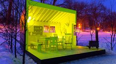 A skating trail along a frozen river in Winnipeg is home to art installation warming huts.