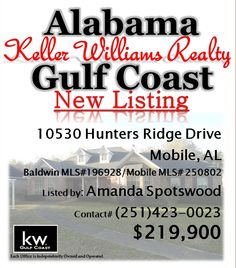 10530 Hunters Ridge Drive, Mobile, AL...Mobile MLS# 250802/Baldwin MLS# 196928...3 Bedroom, 2 1/2 Bath...Totally remodeled custom built home with towering oak trees. Kitchen upgrades include new granite counter tops, deep sink, slick cook top & ceramic flooring. Bathrooms have new marble counter tops. The master bath also features new tub, separate marble shower, lighting & plumbing fixtures. The spacious family room & sun room. Pool & pool house. Please contact Mandy Spotswood at…