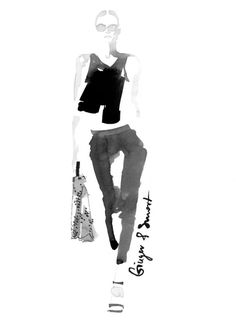 Fashion illustration - watercolour fashion sketch of a look by Ginger Smart for Vogue Australia // Maya Beus Illustration Mode, Fashion Illustration Sketches, Fashion Sketchbook, Fashion Design Sketches, Watercolour Illustration, Travel Illustration, Moda Fashion, Fashion Art, Trendy Fashion