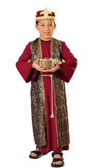"""""""A beautiful costume that is intended to be Gaspar, one of the Three Kings, but we think it is perfect for St. Matthew or any of the Apostles for your All Saints Day Parade! Nativity Costumes, Boy Costumes, Halloween Fancy Dress, Christmas Costumes, Halloween Costumes For Kids, Costume Ideas, Happy Halloween, Childrens Christmas, Crochet Baby Dresses"""