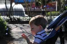 Disney Tip: If you like chewing gum, bring your own. They don't sell it in the park, and this pic of my son is probably a good indication as to why they don't! :)