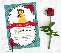 A Belle's Birthday-Printable Invitation-Birthday Party Invite-INSTANT DOWNLOAD-Editable PDF-Princess-Belle-Beauty-Beast-Beauty and the Beast by PaperWillowDesigns on Etsy
