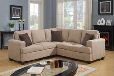 Modern Beige Soft Fabric Sectional Sofa Corner Couch Pillows Living