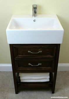 Check out the plans for this small DIY vanity. It features book-matched panels , faux drawers and an IKEA Yddingen sink. It's BIG on style, but fits in a small space! Diy Vanity, Small Bathroom Sink Vanity, Small Bathroom Vanities, Bathroom Ideas, Vanity Ideas, Marble Bathrooms, Boho Bathroom, Bathroom Cabinets, Bathroom Organization