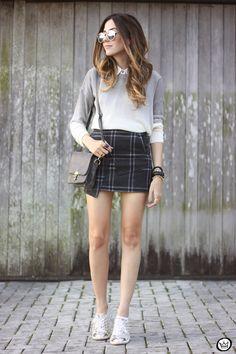 FashionCoolture -08.07.2015 look du jour Ashincans plaid skirt ombré jumper (1)
