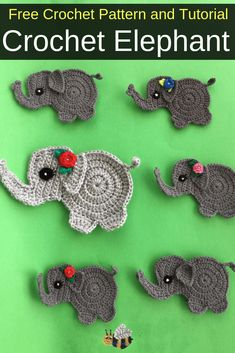 Get this free crochet pattern of a crochet baby elephant. Get this free crochet pattern of a crochet baby elephant. Get this free crochet pattern of a crochet baby elephant. This and many other crochet animals are available on my website, Kerri's Crochet. Crochet Elephant Pattern Free, Crochet Applique Patterns Free, Elephant Applique, Baby Elephant, Free Pattern, Baby Patterns, Appliques Au Crochet, Crochet Motif, Crochet Baby