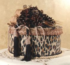 Oval Victorian Keepsake / Hat Box in Leopard Print. $59.95, via Etsy.